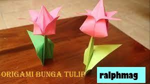 Cara Membuat Bunga dan Batang Tulip Origami